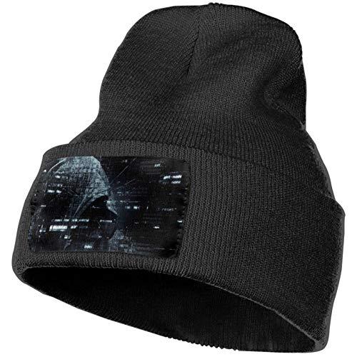 Hacker Attack Password Gorro de Punto Unisex Negro con puños Gorro de Calavera Liso Gorro cálido