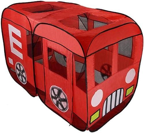HWH Chambre de jouet de bébé, tente de jeu rouge d'autobus de la maison des enfants Grande maison de stockage de jouet de piscine intérieure et extérieure de boule de moustique 140  90  75CM Maison