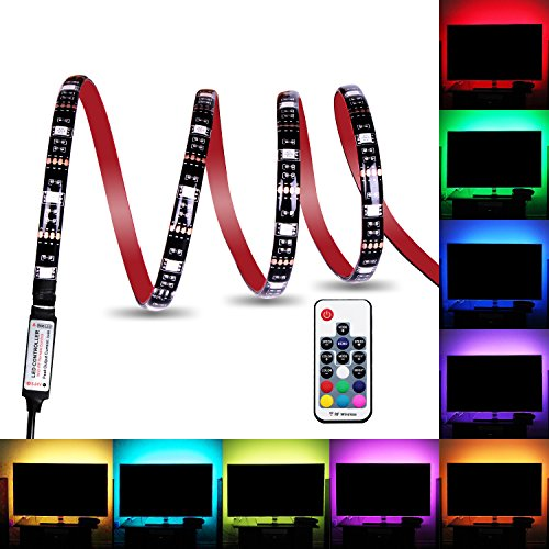 Bias Lighting, Relohas TV Backlight for HDTV,LED Strip Lights with FR Remote Controller, 6.56ft RGB LED Strip Home Multi Color RGB LED TV Lighting for Flat Screen TV, PC, Neon Sign Decoration (2M)