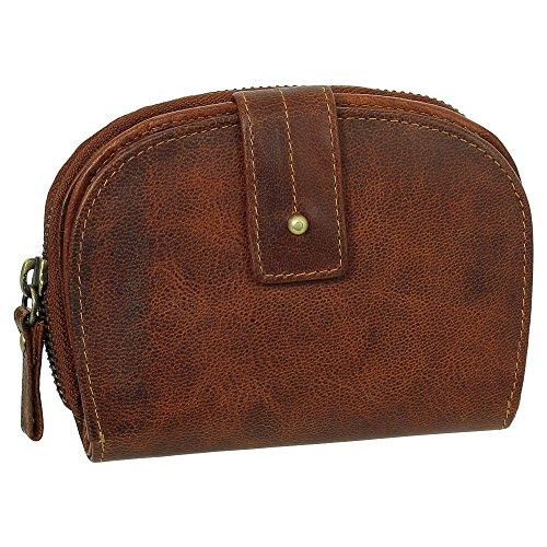 Luxus Leder Damen Geldbörse Portemonnaie Geldbeutel mit Reißverschluss 13,5 cm Farbe Cognac