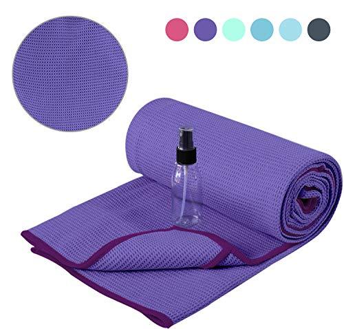 Heathyoga Non Slip Yoga Towel, Exclusive Corner Pockets Design, Microfiber and Silicone...