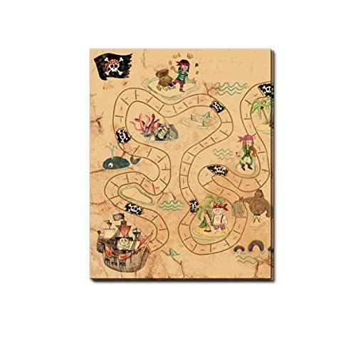 1 Tischdecke * SCHATZKARTE * zum Piraten - Kindergeburtstag, Mottoparty und Geocaching | Kinder Geburtstag Party Deko Table Cover Freibeuter Insel Pirat