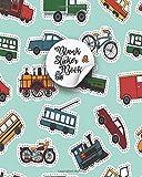 Blank Sticker Book: Retro engines and transport stickers Book Album,Car Sticker Album For Collecting Stickers For Boys,Girls, Blank Sticker Collecting Album Cute Cars & Trucks-Car Blank Sticker Book