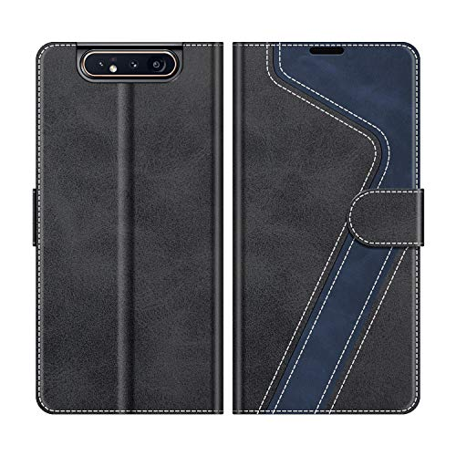 MOBESV Handyhülle für Samsung Galaxy A80 Hülle Leder, Samsung Galaxy A80 Klapphülle Handytasche Hülle für Samsung Galaxy A80 Handy Hüllen, Modisch Schwarz