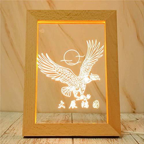 Eagle Nachtlampje, houten lijst, licht, lamp, kantoor, slaapkamer, decoratie, LED-licht Warm licht in één kleur.
