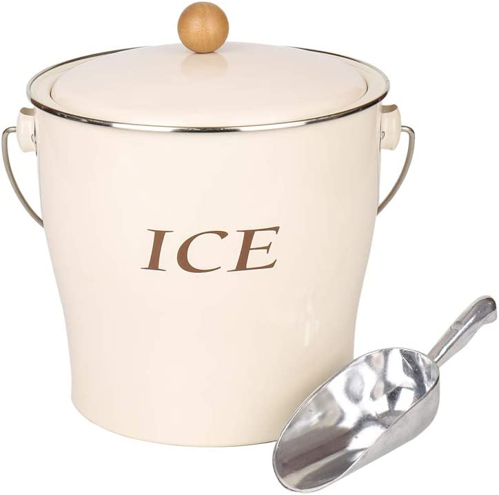 T686 Cream White 4L Metal Double Max 63% OFF New popularity Bucket Walled Set Hand Ice with