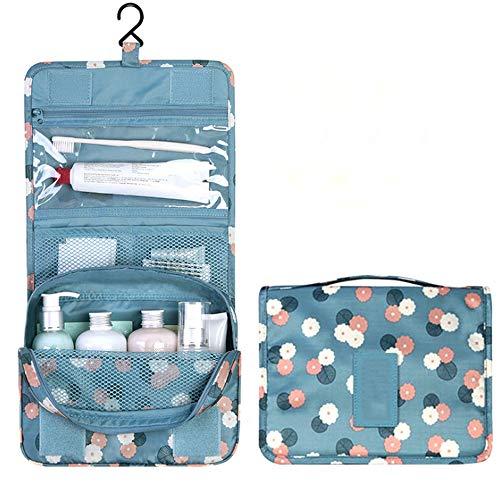 Bolsa de cosméticos de gran capacidad, tela Oxford impermeable y antibacteriana, azul, adecuada para el hogar, viajes y otros propósitos.