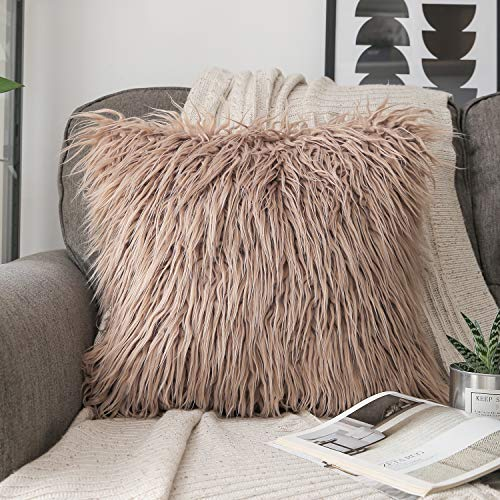 Phantoscope Faux Decorative Fur Pillow Cover