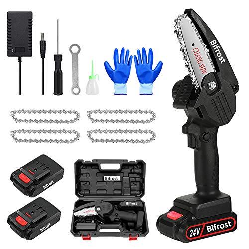 Handheld Mini-Kettensäge 4-Zoll-Elektro-Akku-Kettensäge Tragbare 24v Batterie-Kettensäge,Astschere Kettensäge mit 2 Batterien Und 4 Kette für Gartenbaum AST Holzschneiden...