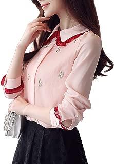Meet Nice Women's Long Sleeve Back Zipper Hollow Out Lace White Blouse