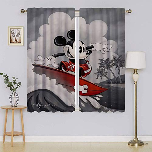 lacencn Mickey-Mouse - Cortina de ventana para sala de estar, cortina de luz decorativa, eficiente de energía, para dormitorio (63 x 45 cm)