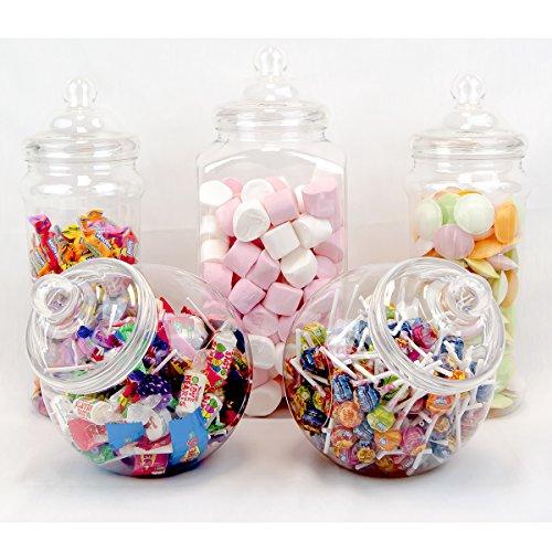 5 barattoli Jumbo retrò Pick & Mix Victorian Sweet Shop Candy Buffet Kit Party Pack