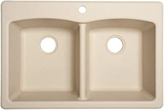Franke ELG62D91-LIN Ellipse 33-in x 22-in Linen Double-Basin Composite Drop-in or Undermount 4-Hole Commercial Kitchen Sink, inch x inch x 9-inch deep