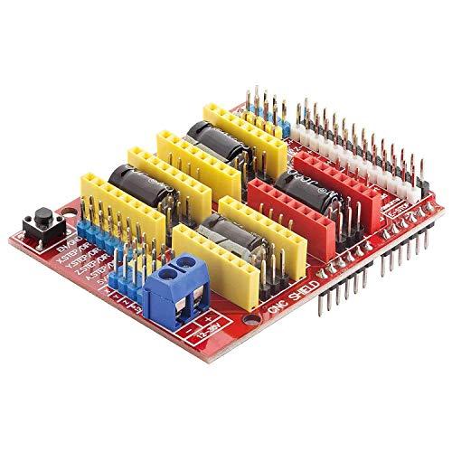 AZDelivery CNC Shield V3 Placa de Desarrollo para Motor Paso a Paso A4988 Controlador Stepper para impresoras 3D para Arduino UNO R3 con eBook incluido