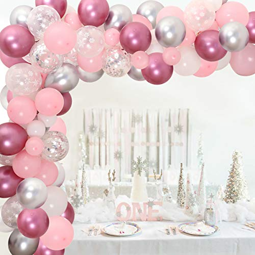 106 Pack Pink and Silver Balloon Garland for Baby Shower Winter Wonderland Party Decorations 1st Birthday or Baby Its Cold Outside Decorations