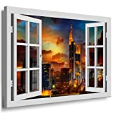 BOIKAL XXL203-3 Fensterblick Leinwand bild 3D Illusion -