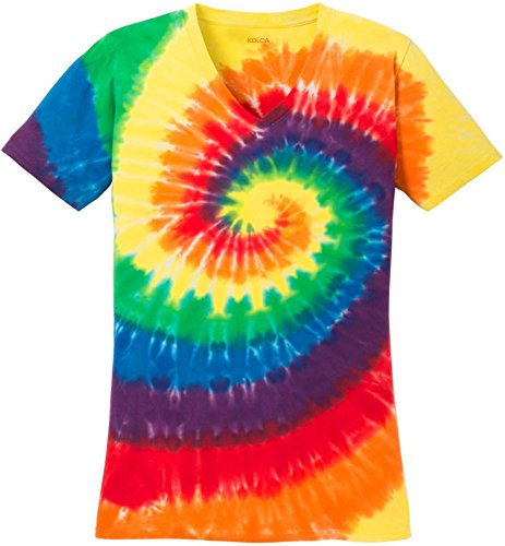 Koloa Surf Ladies Colorful Tie-Dye V-Neck T-Shirt-Rainbow-XL