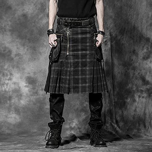 Astemdhj Falda Escocesa Scottish Skirt Pantalones Punk Rock para Hombre, Pantalones De Moda, Personalidad De Carga, Faldas Escocesas A Cuadros, Faldas Largas Medias