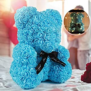 """Silk Flower Arrangements Rose Teddy Bear, Rose Bear Teddy Bear,10"""" Flower Bears with Lights,Forever Rose Bear Foam Artificial Flower,Lighted Up Rose Teddy Bear Gift for Valentines Day, Mothers Day,Anniversary (A-Blue)"""