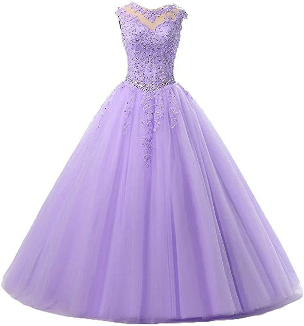 SHANGSHANGXI Tulle Ball Gown Party Dresses Cap Sleeve Lace Applique Quinceanera Dress