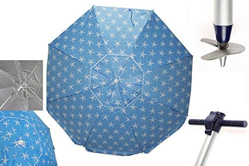 Pincho Sombrillas Playa 2m Aluminio UPF+50 99% UV Punta de Aluminio Reforzado 16 Varillas-Anti torsión. (Azul Estrellas)