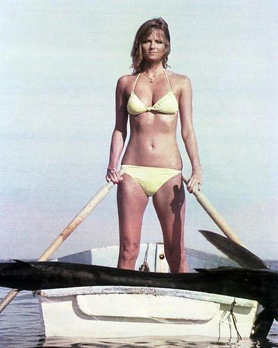 Cheryl Tiegs 16x20 Poster in Bikini Rowing Boat