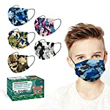 XDX Kids Face Mask, Disposable Face Masks for Boys and Girls,Multicolored Camo Face Masks 3-ply, 5.7' x 3.7' Children's Size-for Childcare, School, Daily use (50PCS, 5 Colours)