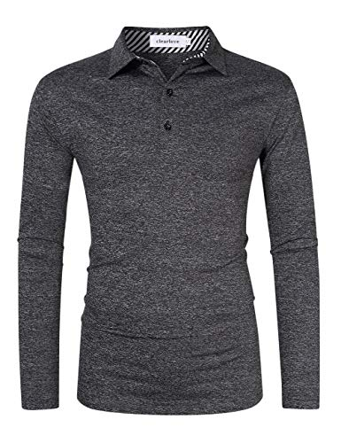 Clearlove Men s Long Sleeve Quick-Drying Golf Tops T-Shirt Polo (Black Grey, S)