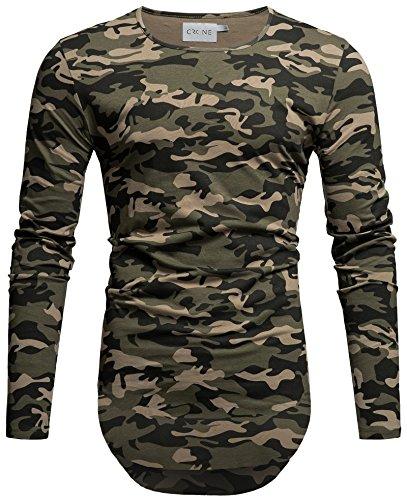 Crone Herren Langarm Shirt Longsleeve Slim Fit T-Shirt Leicht Oversize Basic Sweatshirt (M, Camouflage)