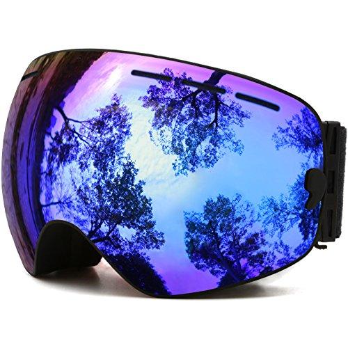 Juli OTG Ski Goggles,Frameless Over Glasses Skiing Snow Goggles for Men Women & Youth - 100% UV Protection Dual Lens (Black Frame+VLT 18.4% Brown Len with REVO Blue)