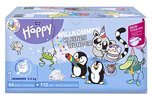 Pack 96 pañales Bella Baby Happy talla 1 y 112 toallitas húmedas