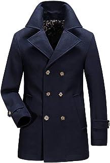 BININBOX Abrigo hombre de lana de gabardina de invierno parka