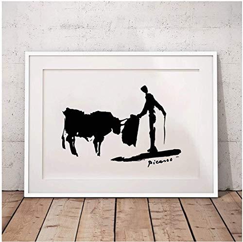 Pintura 50x70cm sin Marco Pablo Picasso Cuadros de Pared Minimalistas decoración artística Negro Blanco Cartel de torero español Impresiones decoración artística