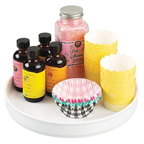 mDesign Lazy Susan plateau tournant en plastique pour épices, aliments, etc. – accessoire de rangement pour placard, armoire, réfrigérateur, comptoir & table de cuisine – carrousel cuisine – blanc