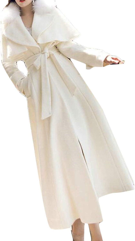 EtecredpowCA Women's Fashion Outwear Faux Fur Collar Belt WoolBlend Thicken Pea Coat