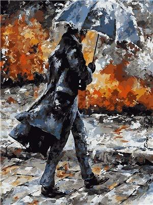 Leeg schilderen op cijfers, voor volwassenen, knutselen, voorgedrukt, voor kinderen en volwassenen, om te beschilderen, met heren onder een paraplu, herfst, handwerk, schilderij thuis, 30 x 40 cm