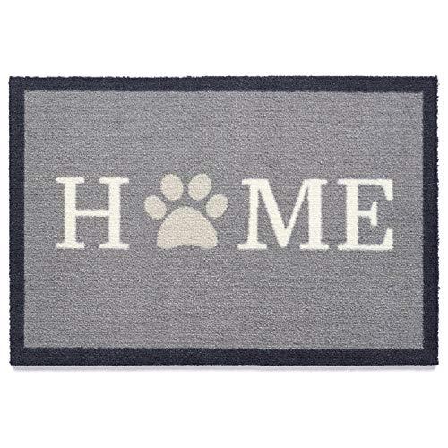 Tierisch-tolle Geschenke Hundefan Fußmatte/Schmutzfangmatte Home Paw 1 mit Pfotenabdrücken | rutschfest & Schmutzabweisend | Antibakteriell & Hygienisch | Waschbar | 75 x 50 cm