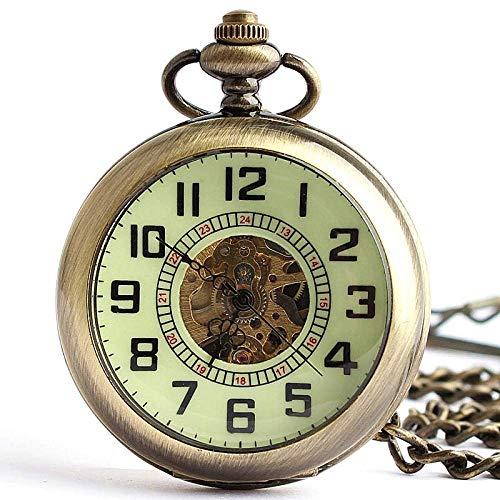 WMYATING Exquisito, hermoso, elegante y único diseño vintage bronce abierto esfera automática reloj de bolsillo mecánico números romanos reloj con cadena llavero relojes regalo