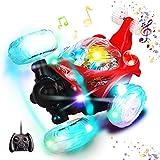 Ferngesteuertes Auto, Swonuk 360° Wiederaufladbar RC Stunt Auto Rennauto mit Musik und LED-Licht, Auto Spielzeug Rennfahrzeug für Kinder Jungen Mädchen (Rot)