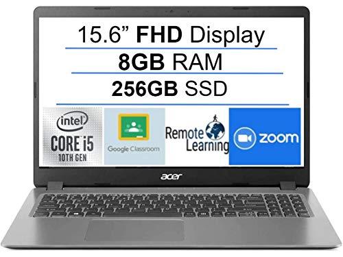Newest Acer Aspire 3 15.6' FHD 1080P Laptop Computer, 10th Gen Intel Quad-Core i5 1035G1 (Beats i7-7500u), 8GB DDR4 RAM, 256GB PCIe SSD, Webcam, HDMI, WiFi, Bluetooth, Windows 10, AllyFlex Mousepad