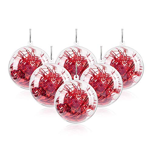 """Uten 20Pcs DIY Ornament Balls Christmas Decorations Tree Ball 3.15""""/80mm Clear Fillable Baubles Craft for New Years Present Holiday Wedding Party Home Decor"""