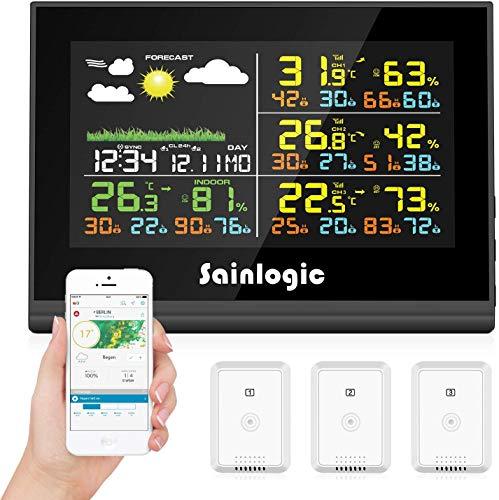 Sainlogic WLAN Funk Wetterstation mit 3 Außensensoren, Wettervorhersage, Farbdisplay, Wunderground, Automatisch synchronisiert Uhr
