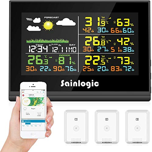 sainlogic FT0850 Plus - Estación meteorológica inalámbrica (WLAN), Color Negro