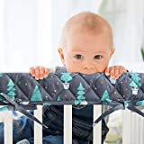 3-Piece Padded Baby Woodland Crib Rail Cover Protector Set from Chewing, Crib Rail Teething Guard for Standard Cribs, 1 Front Rail and 2 Side Rails, Secure Crib Rail Guard