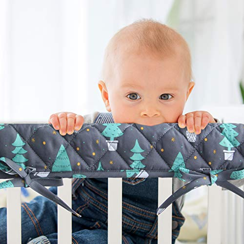 3-Piece Padded Baby Woodland Crib Rail Cover Protector Set from Chewing, Crib Rail Teething Guard for Standard Cribs, 1 Front Rail and 2 Side Rails, Safe and Secure Crib Rail Guard