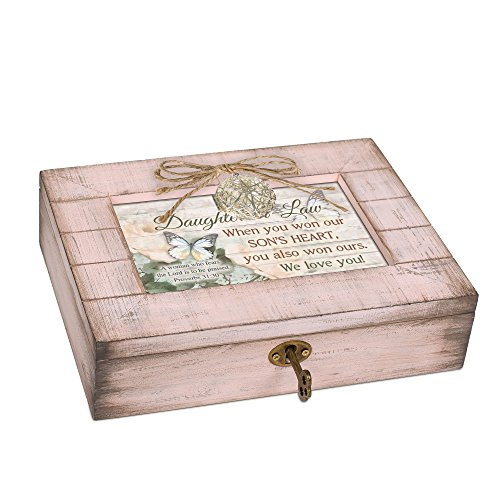 Cottage Garden Daughter in Law We Love You Blush Pink Distressed Locket Music Box Plays Friend in Jesus