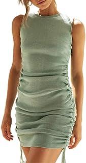 Mosiolya Women Side Drawstring Short Dress Ruched Stretchy Sleeveless Bodycon Tank Dress