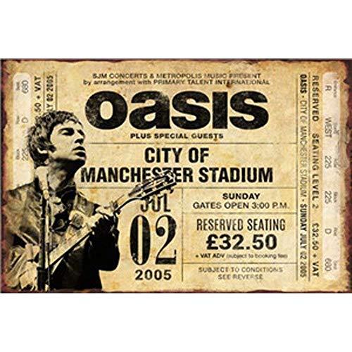NOT Oasis Band Metall Wand Poster Kunstwerk Jahrgang Warnung hängend Restaurant Bar Geburtstag Party Weihnachten Valentinstag Tag Geschenk