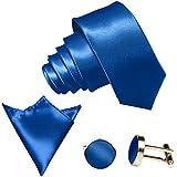 GASSANI 3-SET Krawattenset, 8,5Cm Breite Royal-Blaue Herren-Krawatte Schmal Manschettenknöpfe Ein-Stecktuch, Bräutigam Hochzeitskrawatte Glänzend