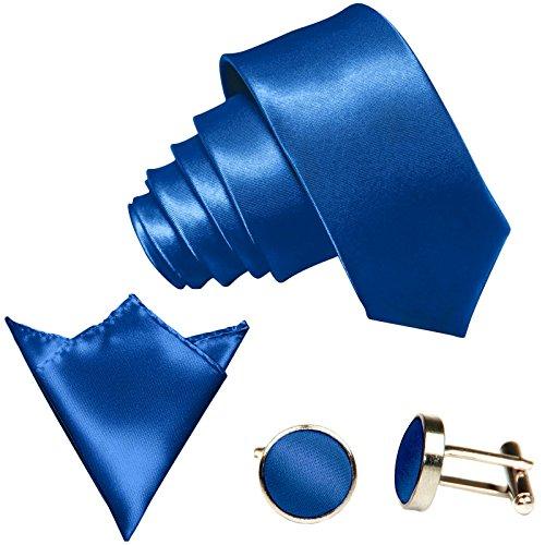 GASSANI GASSANI 3-SET Krawattenset, 8,5Cm Breite Royal-Blaue Herren-Krawatte Schmal Manschettenknöpfe Ein-Stecktuch, Bräutigam Hochzeitskrawatte Glänzend